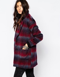 Noisy May New Katelyn Check Wool Coat Burgundy