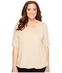 B Collection By Bobeau Curvy Plus Size Mallory Dolman Mixed Media Top Oatmeal Women's Long Sleeve Pullover Brown