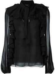 Giambattista Valli Ruffled Longsleeved Blouse Black