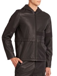 Alexander Wang Contrast Paneled Leather Hooded Jacket Black