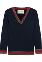 Gucci Striped Wool Sweater Midnight Blue