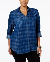Styleandco. Style Co. Plus Size Plaid Denim Shirt Only At Macy's Percy Plaid