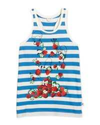 Stella Mccartney Valentine Striped Racerback Tank Blue
