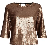 River Island Womens Gold Sequin Grazer Top
