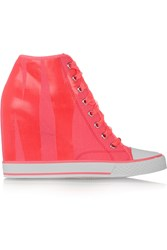 Dkny Neon Canvas Wedge Sneakers Pink