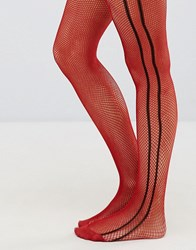 Asos Fishnet Tights In Red With Black Side Stripe Black