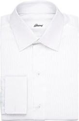 Brioni Pleated Bib Tuxedo Shirt White
