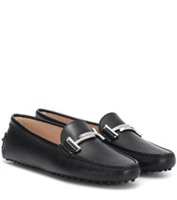 Tod's Gommino Double T Leather Loafers Black