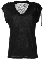 Iro Lace Up T Shirt Black