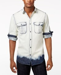 Inc International Concepts Men's Macbeth Bleach Washed Shirt Only At Macy's Basic Navy