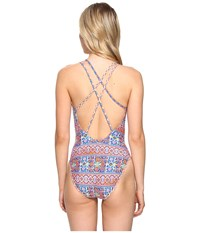 Lablanca Corsica Tile Strappy Back Lingerie Mio Multi Women's Swimsuits One Piece