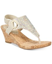 White Mountain Aldon Thong Embellished Wedge Sandals Women's Shoes Gold