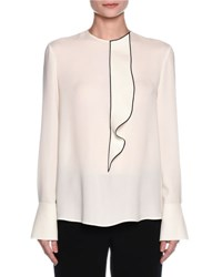 Giorgio Armani Ruffled Button Back Tuxedo Blouse Off White