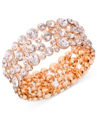 Guess Rose Gold Tone Crystal Bubble Stretch Bracelet