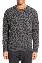 French Connection Leopard Print Crewneck Sweater Gray