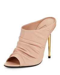 Tom Ford Ruched Leather High Heel Mule Nude