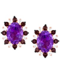 Le Vian Princess Alexandra Amethyst 2 Ct. T.W. Smoky Quartz 1 3 Ct. T.W. And White Topaz 1 4 Ct. T.W. Stud Earrings In 14K Rose Gold