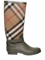 Burberry Check Canvas And Rubber Rain Boots
