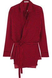 Alexander Wang T By Plaid Gauze Wrap Shirt Red