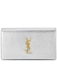 Saint Laurent Classic Monogram Leather Clutch Metallic