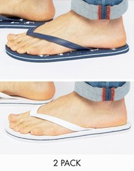 Asos Flip Flops 2 Pack In Navy And White Save Multi