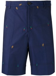 Kenzo Badge Embroidered Chino Shorts Blue