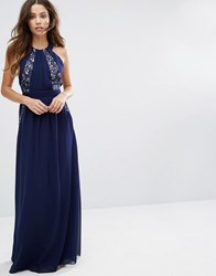 Little Mistress Lace Exposed Back Maxi Dress Navy