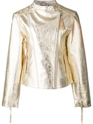P.A.R.O.S.H. Metallic Grey Biker Jacket