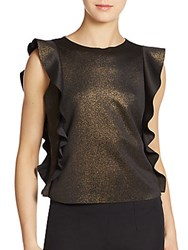Saks Fifth Avenue Red Flounce Detailed Blouse Gold