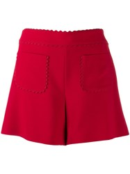Red Valentino Scalloped Detail Shorts Red