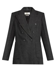 Etoile Isabel Marant Janey Prince Of Wales Checked Linen Blazer Dark Grey