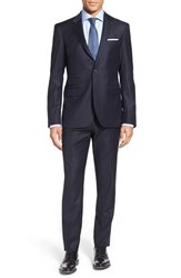 Men's Big And Tall Strong Suit 'Claymore' Trim Fit Stripe Wool Suit Navy