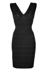 Herve Leger Herve Leger V Neck Bandage Dress In Black