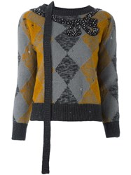 Marc Jacobs Embellished Argyle Knit Jumper Grey