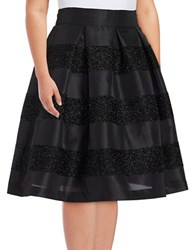 Eliza J Plus Striped A Lined Skirt Black