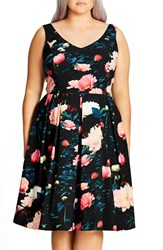 City Chic Plus Size Women's 'Delight' Floral V Neck Fit And Flare Dress