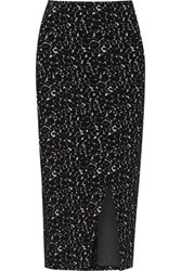Alice Olivia Oriana Stretch Knit Cotton Blend Midi Skirt Black