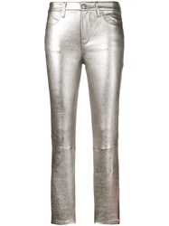 Frame Slim Fit Leather Trousers Silver