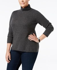 Charter Club Plus Size Cashmere Turtleneck Sweater Only At Macy's Heather Cinder