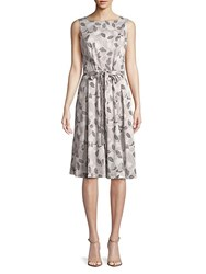 Jones New York Printed Leaf Fit And Flare Dress Parchment