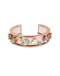 Betsey Johnson Multicolor Stone Bow And Pearl Cuff Bracelet