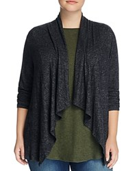 B Collection By Bobeau Curvy Ami Drape Front Cardigan Charcoal Grey