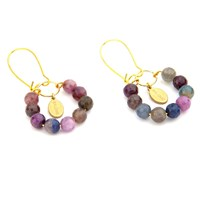 Salome Tribal Collection Ruby And Sapphire Earrings Red Blue Gold