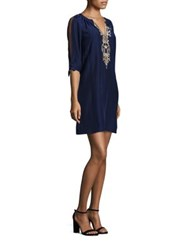 Lilly Pulitzer Bryce Silk Embroidered Tunic Dress True Navy