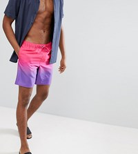 Asos Tall Swim Shorts In Purple And Pink Ombre In Mid Length
