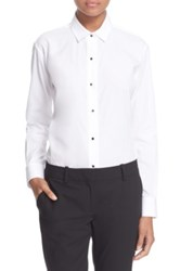 The Kooples Poplin Button Front Shirt White