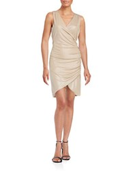 The Vanity Room Ruched Surplice Dress Champagne