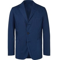 Aspesi Dark Blue Slim Fit Unstructured Garment Dyed Cotton Blazer Blue