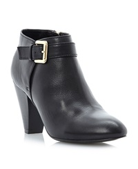 Dune Nash Buckle Dressy Ankle Boots Black Leather