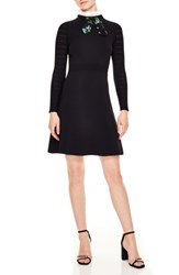 Sandro Ruffle Tie Neck Fit And Flare Dress Black